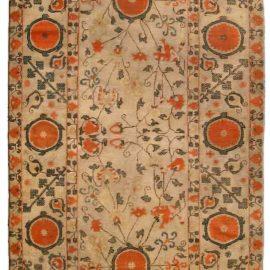 19th Century Samarkand Light Camel and Orange Handwoven Wool Rug BB4256