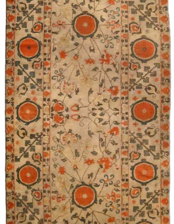 19th Century Kuba Orange and Blue Handwoven Wool Rug BB4754