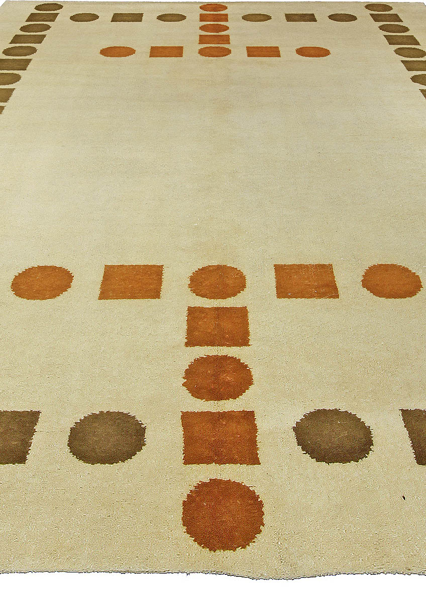 Art Deco Cool Brown, Rust and Off-White Handwoven Wool Rug BB5366