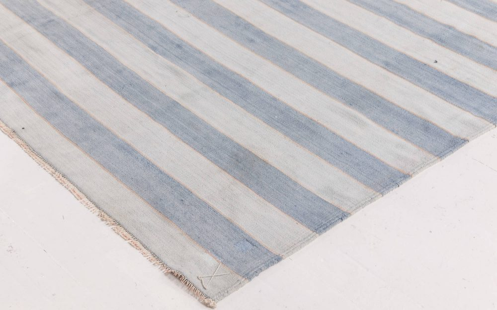 Indian Dhurrie Cool Blue Striped Hand Knotted Cotton Rug BB6536
