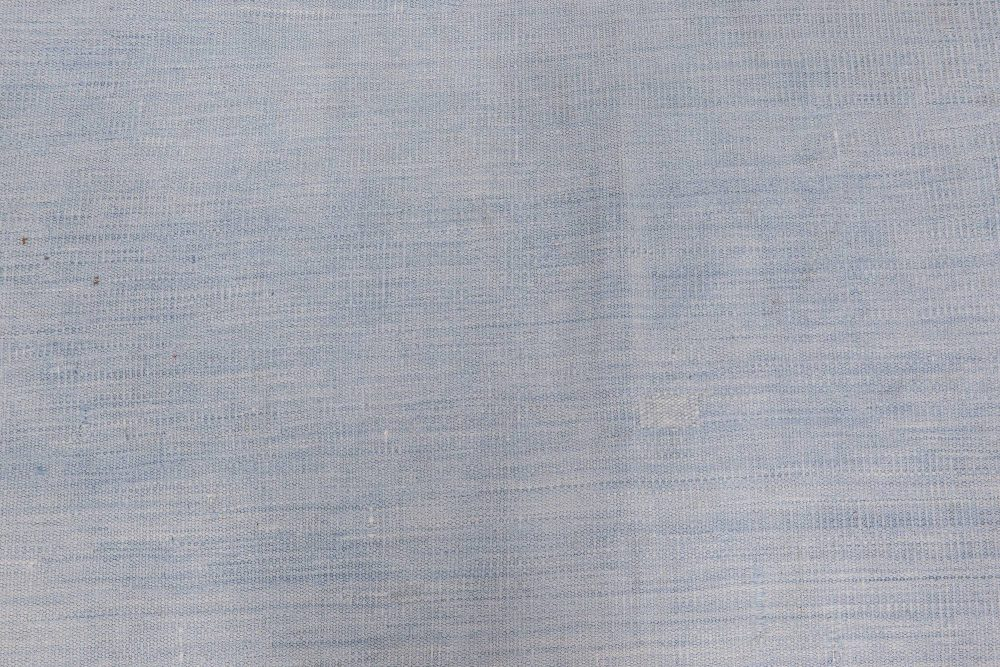 Indian Dhurrie Light and Deep Blue Handwoven Cotton Rug BB6534