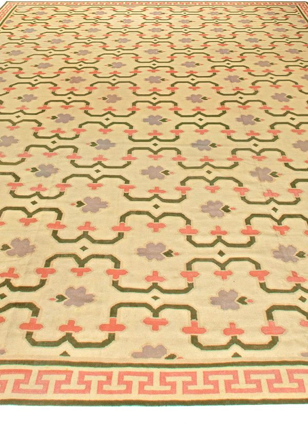 Oversized Indian Dhurrie Vintage Rug BB5815