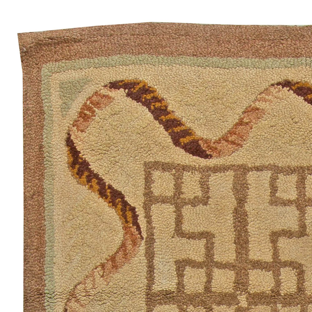 Vintage Hooked Camel and Light Brown Handwoven Wool Rug BB3453