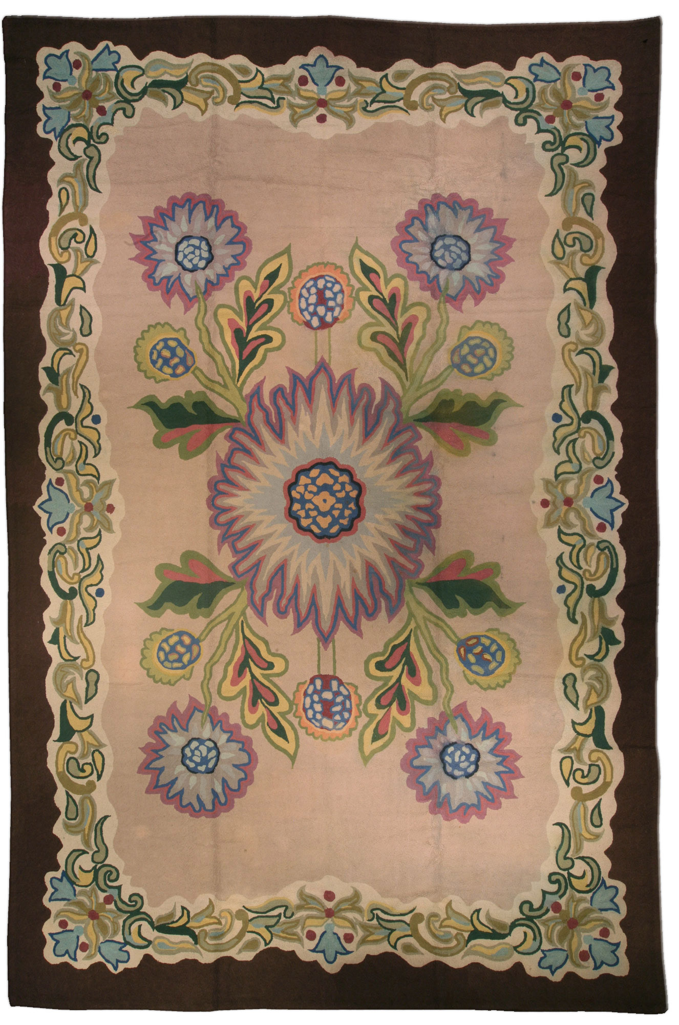 Vintage Hooked Rug Bb1146 By Dlb