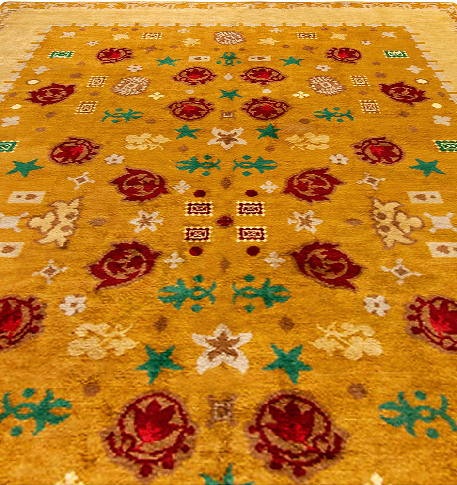 French Art Deco Orange & Red Handwoven Wool Rug by Paule Leleu BB4696