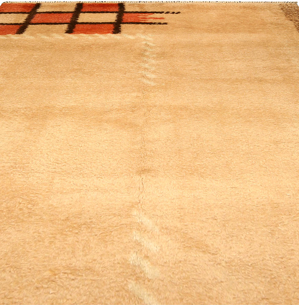 French Art Deco Orange, Beige and Brown Handwoven Wool Rug BB4762