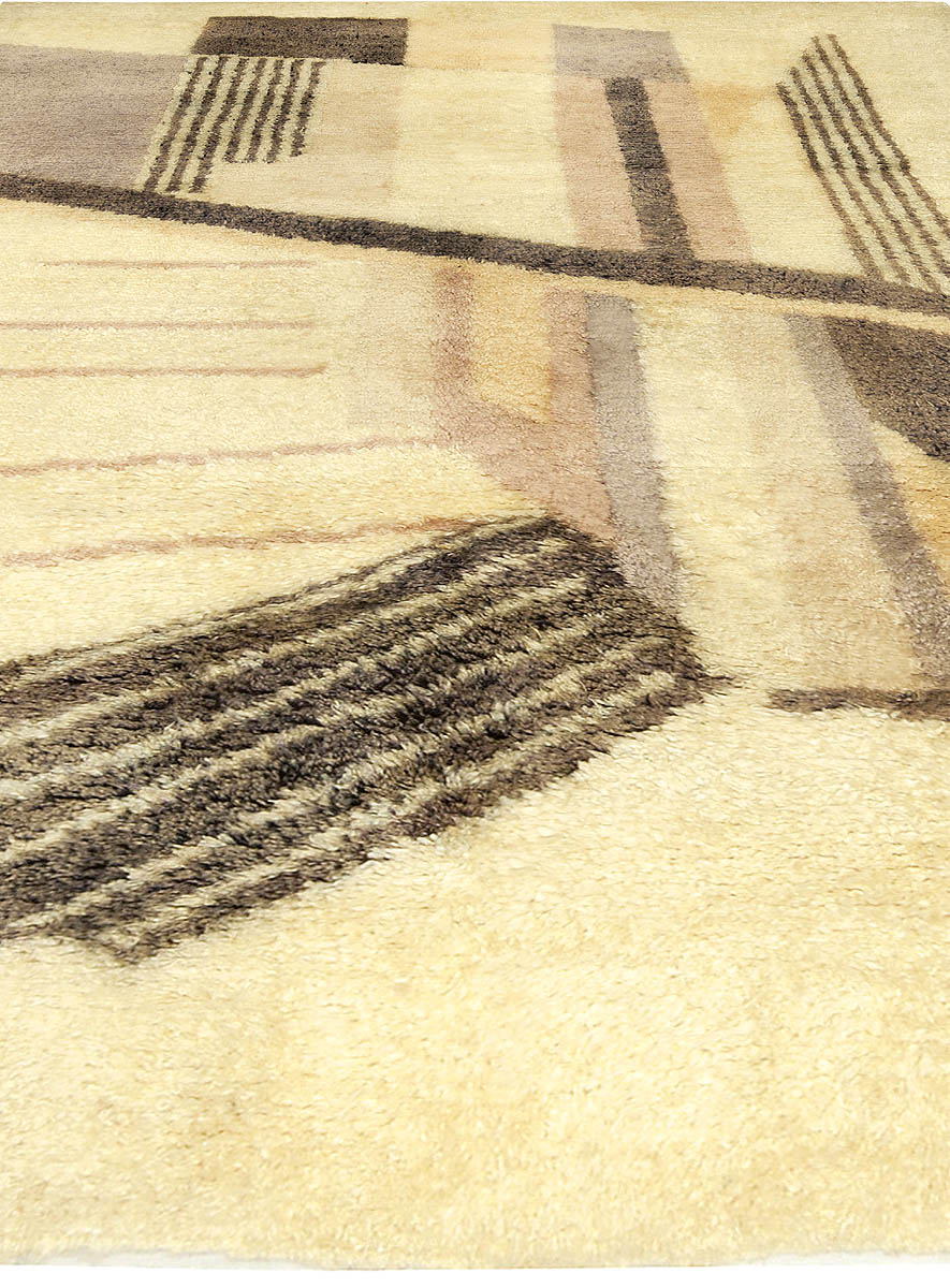 Art Deco Beige, Taupe, Cool Brown, Lavender and Peach Wool Rug BB5030