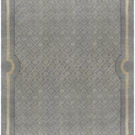 Vintage French Art Deco Grayish-green Handwoven Wool Rug BB5283