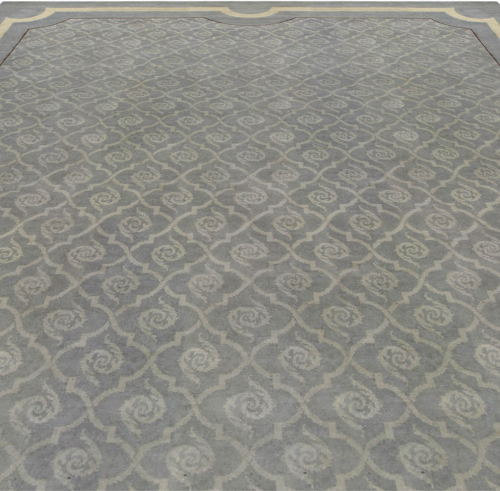 Vintage French Art Deco Grayish-green Handwoven Wool Rug BB5283