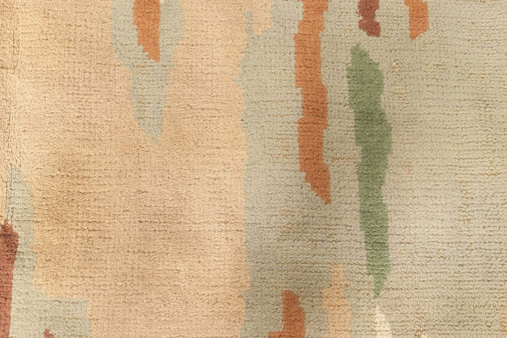French Art Deco Dark Green, Rust, Orange, Peach and Cream Wool Rug BB5055