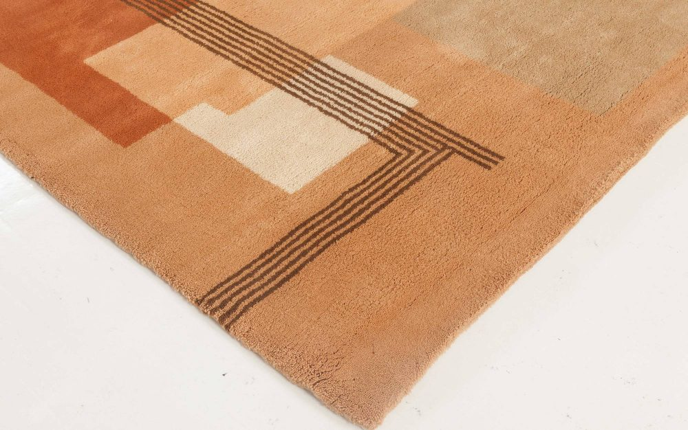 French Art Deco Orange, Brown, Salmon and Beige Wool Rug BB5963