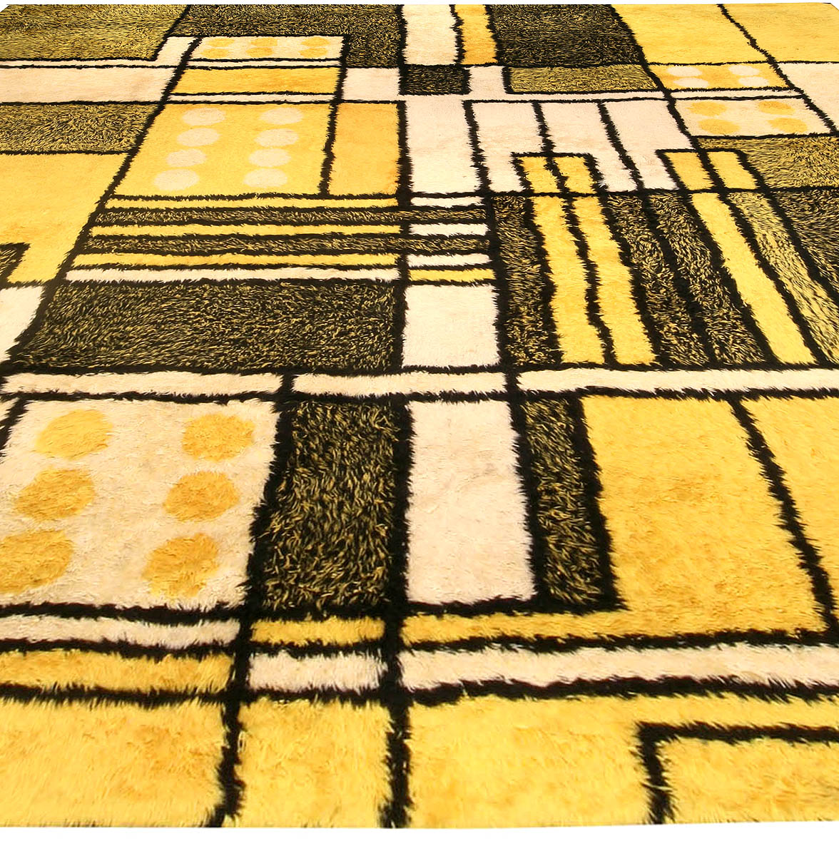 Yellow Vintage Modernist Rug BB4475