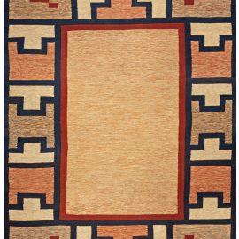 Swedish Geometric Beige, Blue, Brown & Red Flat-Woven Wool Rug BB4798