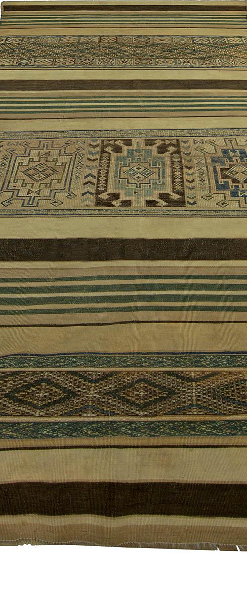 Vintage Moroccan Geometric Green, Brown and Beige Kilim Rug BB5239