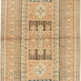 Moroccan Mid Century Beige, Brown & Blue Handwoven Wool Rug BB6421