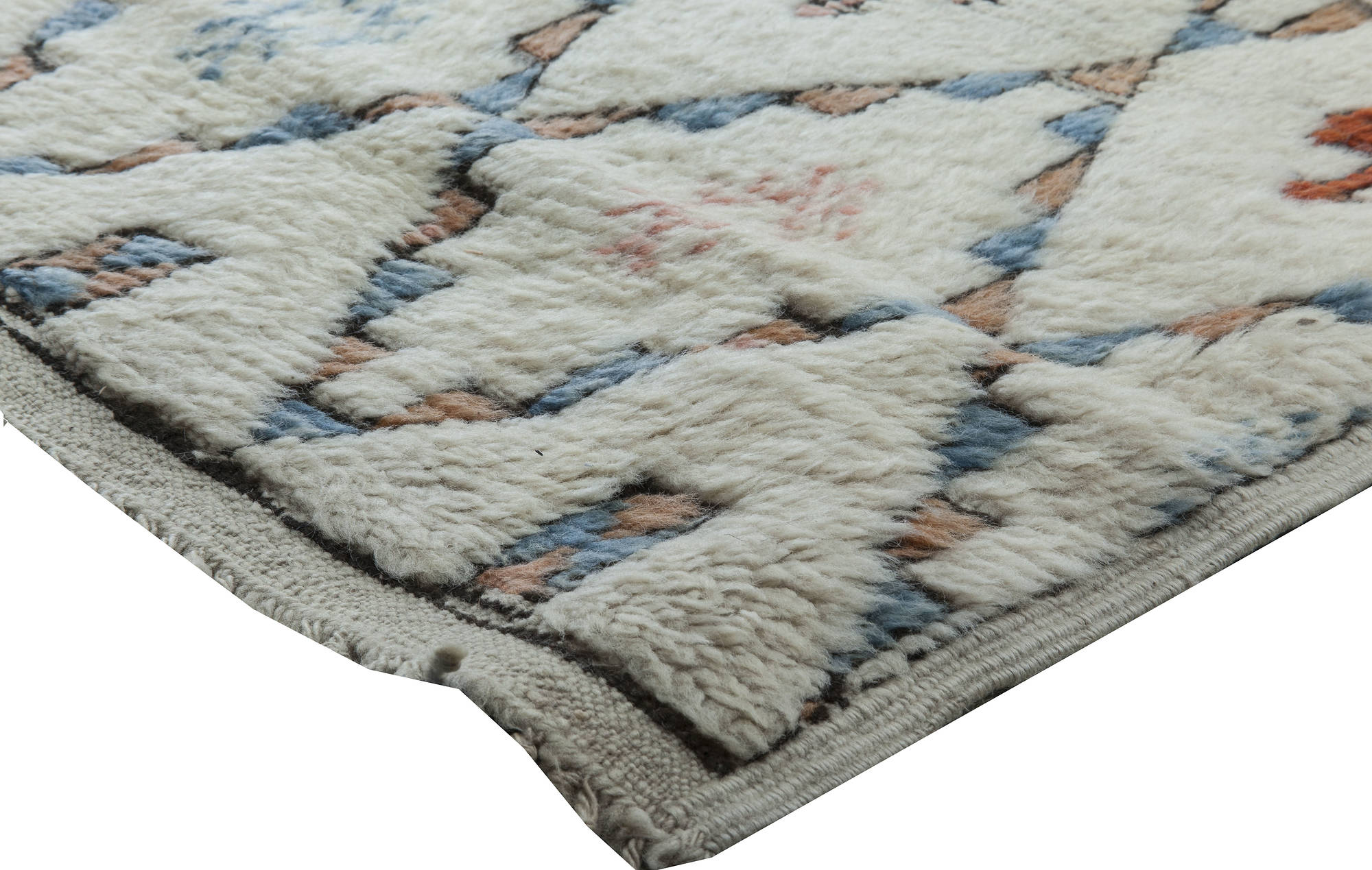 Midcentury Moroccan White Blue And Orange Hand Knotted Wool Rug Bb6346 By Dlb