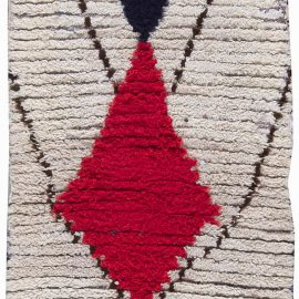 Vintage Tribal Moroccan Wool Rug with Geometric Design in White, Red, Blue, and Black BB6206