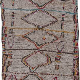 Vintage Moroccan Wool Rug with Multi-colored Tribal Geometric Motifs BB6215