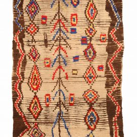 Vintage Tribal Hand-woven Moroccan Rug in Cream, Brown, Red, Yellow, and Blue BB5140