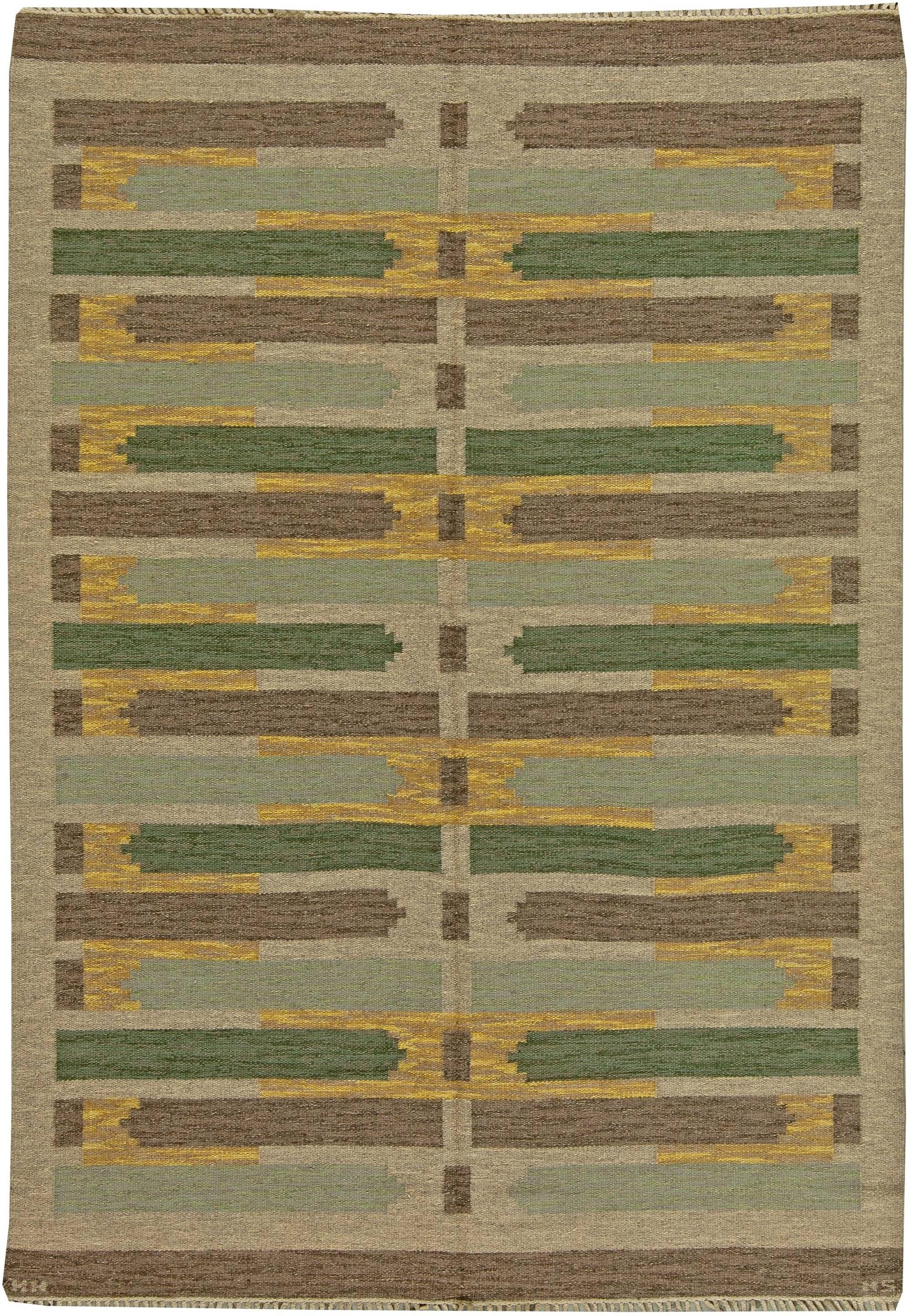 Vintage swedish flat weave Rug by Maj Swanstrom BB5955