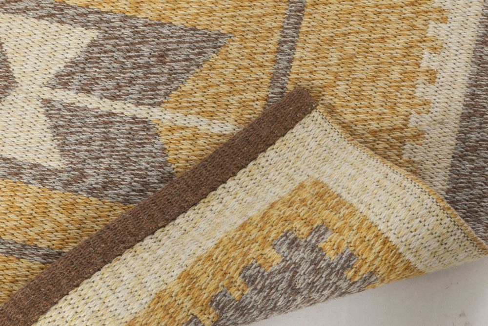 Mid-Century Swedish Double Sided Flatweave Rug in Ivory, Amber, and Grey BB6566