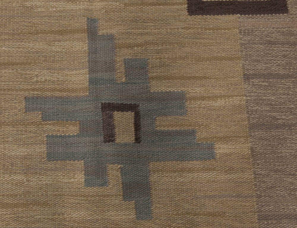 Vintage Swedish Flat weave Rug by Sodra Kalmar BB6499