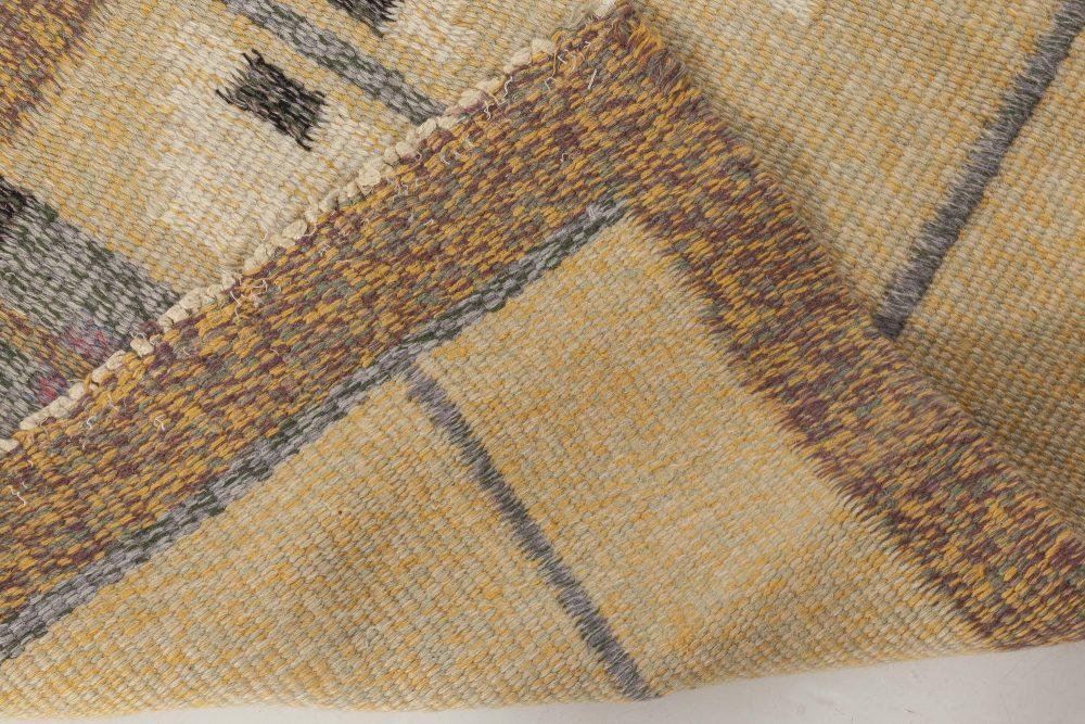 Swedish Beige, Gray and Brown Geometric Flat-Woven Wool Rug BB6569