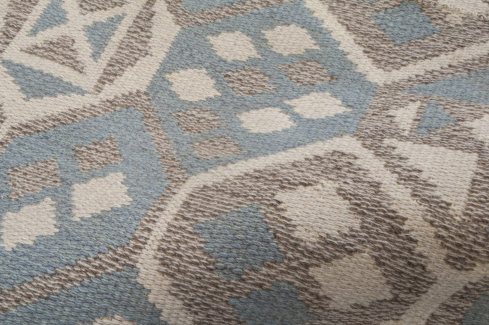 Mid-Century Scandinavian Wool Rug with Honeycomb Design in Blue-Grey, Ivory, and Brown BB6403