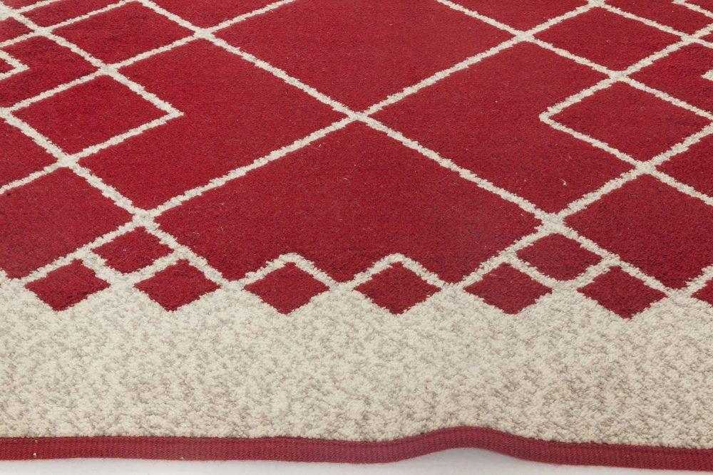 Swedish Deep Burgundy and White Double Sided Flat-Weave Wool Rug BB6540