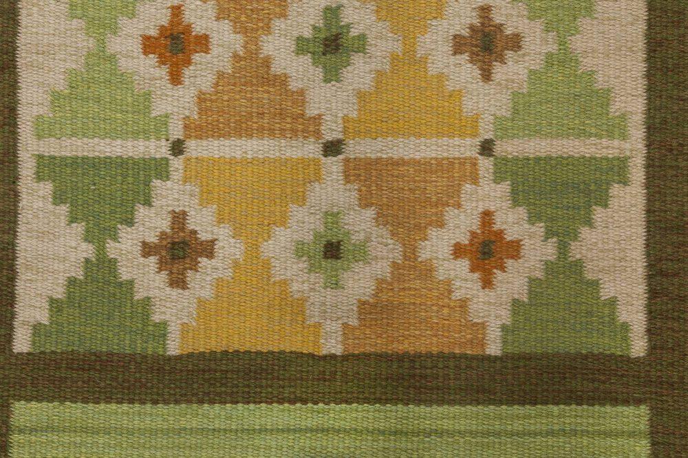Swedish Midcentury Green and Yellow Flat-Weave Rug BB6572
