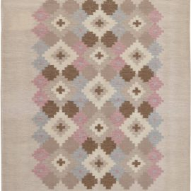 Swedish Beige, Pink, Brown and Gray Flat-Weave Wool Rug BB6551