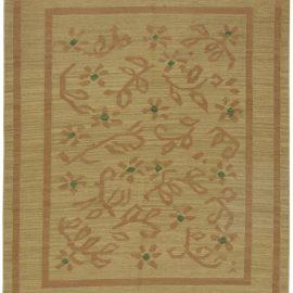 Swedish Beige, Brownish-Orange and Green Flat-Weave Wool Rug BB6563