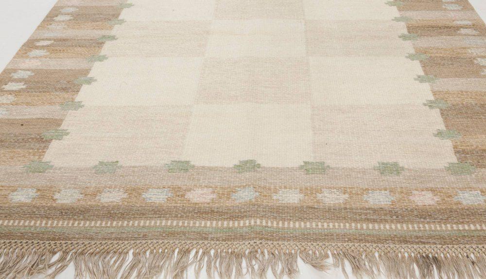 Swedish Chestnut, Walnut Brown, Gray, Off-White & Beige Wool Rug BB6571