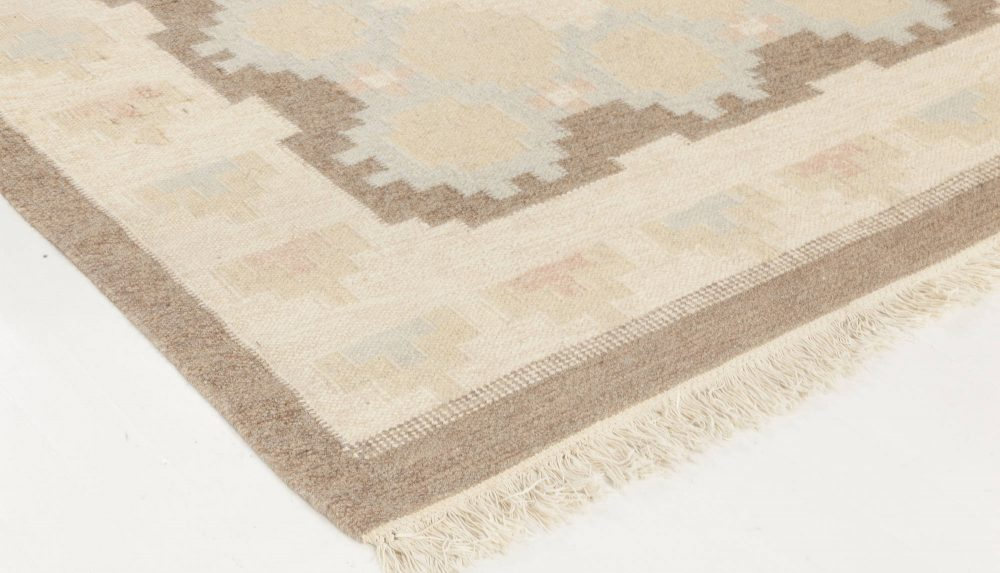 Midcentury Swedish Beige, Brown and Blue Flat-Weave BB6576