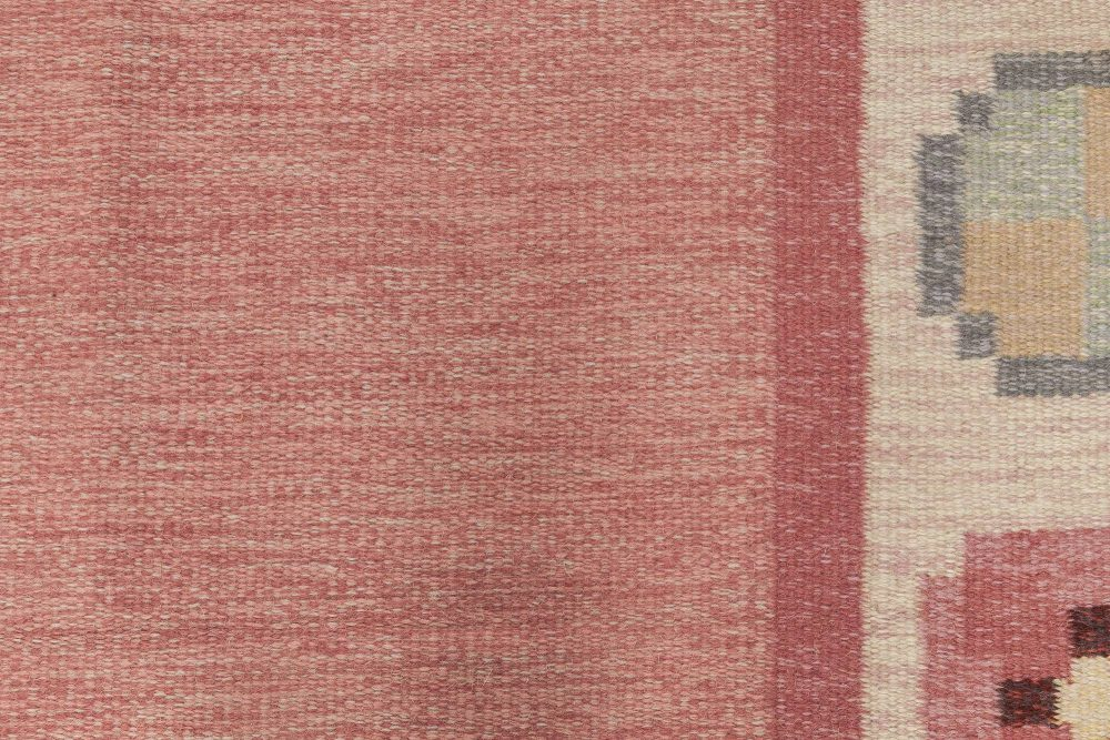 Midcentury Swedish Pink, Blue and Gray Flat-Weave Wool Rug BB6578