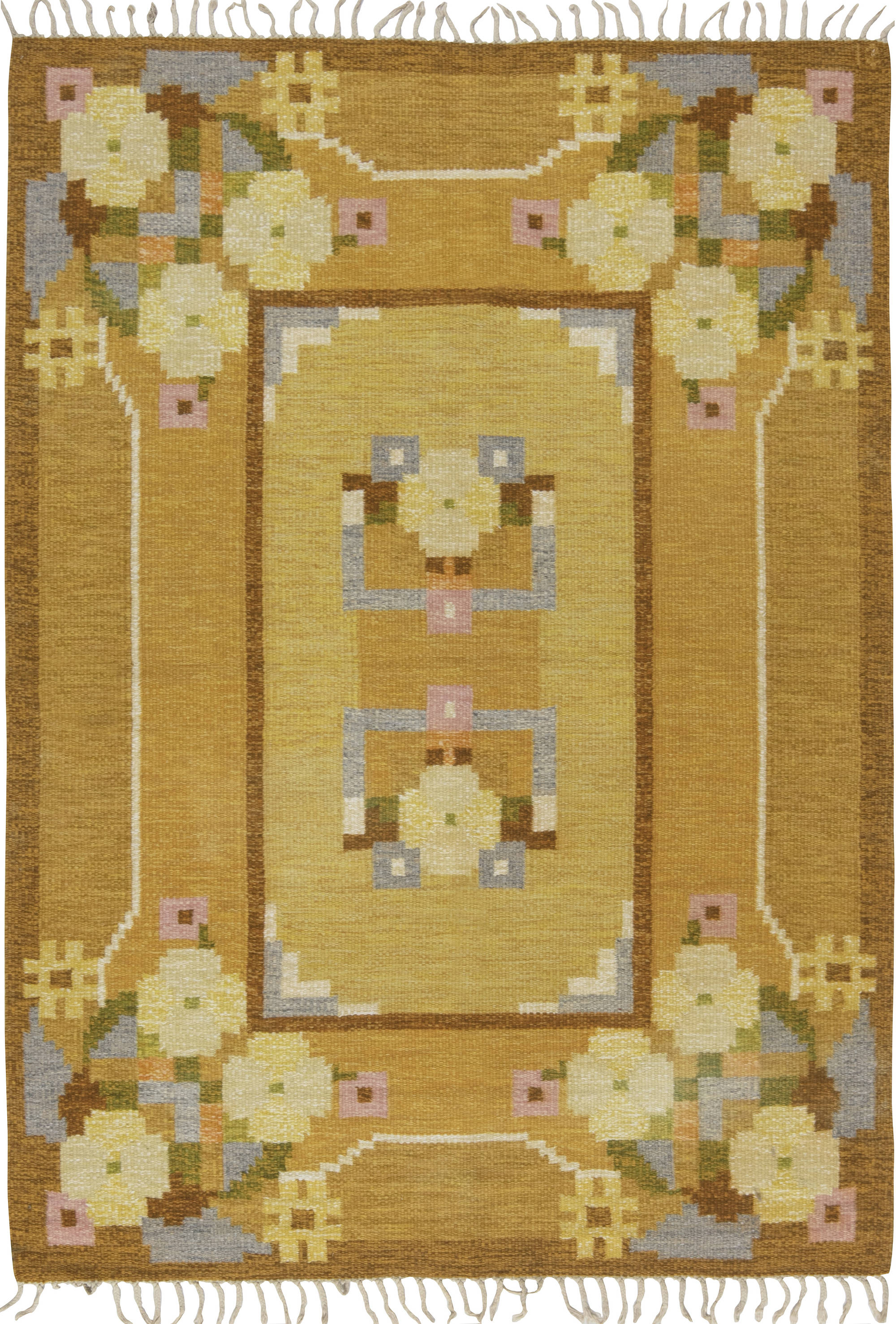 Vintage Swedish flat weave rug signed by Ingegerd Silow BB6579