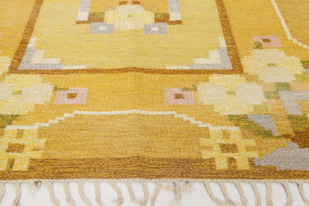 Midcentury Swedish Yellow Flat-Weave Wool Rug Signed by Ingegerd Silow BB6579