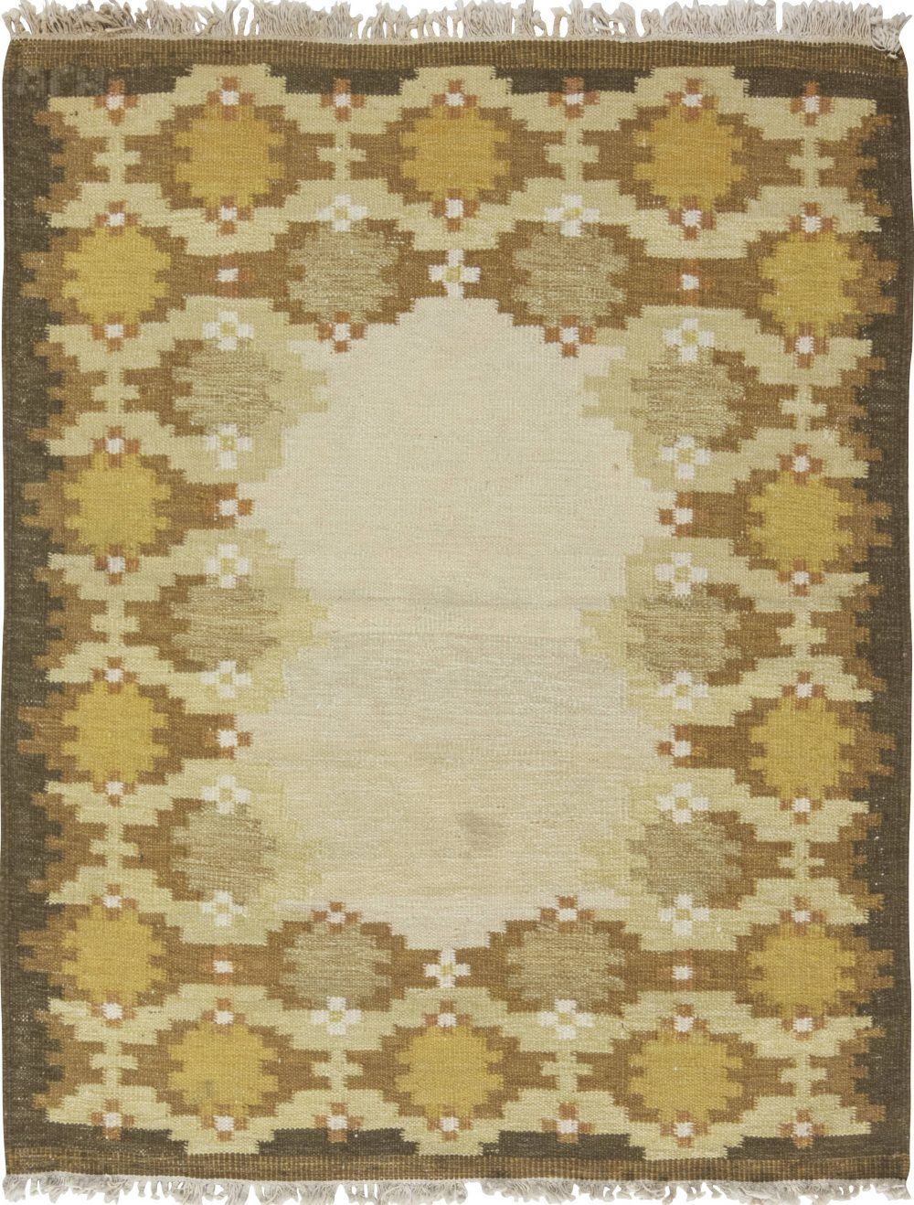 Midcentury Swedish Yellow, Beige and Brown Flat-Weave BB6570