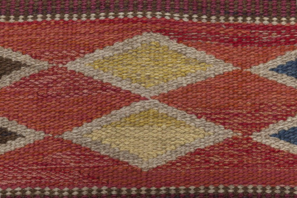 Mid-century Swedish Red Geometric Rölakan Rug by Irma Kronlund. Woven by Kronobergs Läns Hemslöjd BB6352