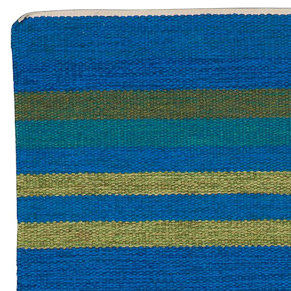 Swedish Beige, Brown and Dark Blue Flat-Woven Wool Rug Signed AB BB5383