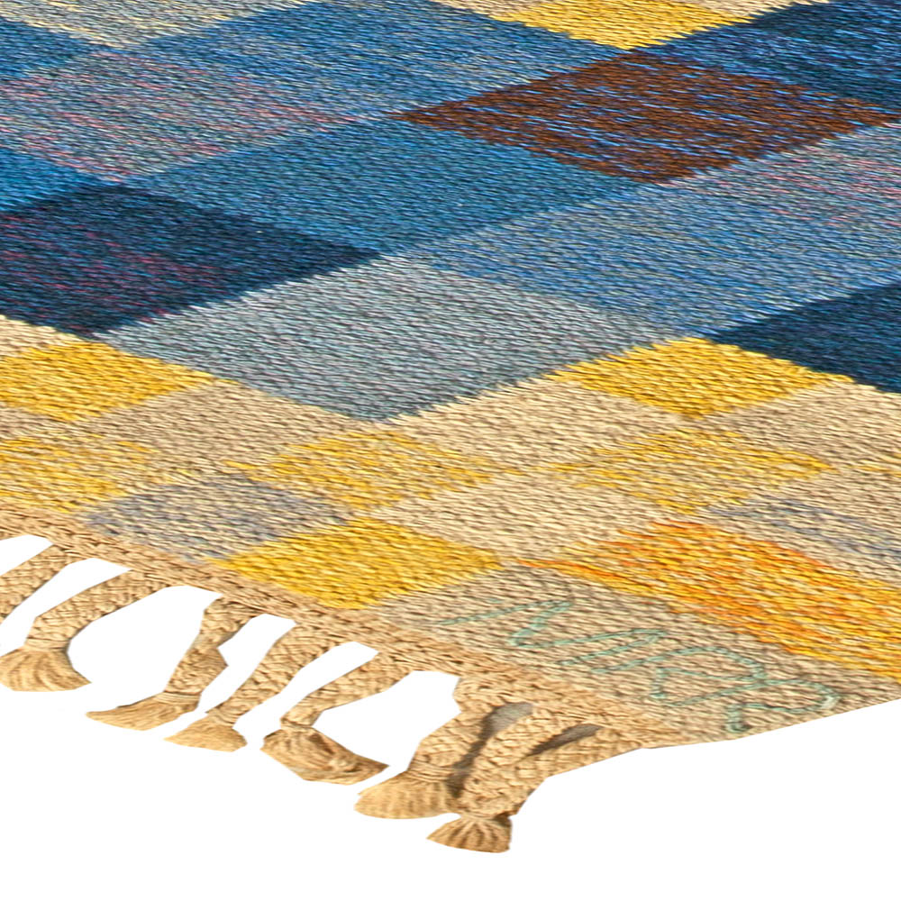 Blue and Yellow Hand Knotted Wool Rug by Marta Rinde Ramsback BB5824