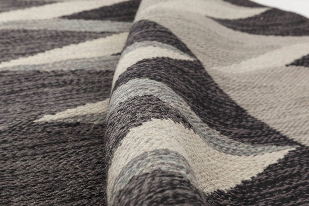 Mid-Century Modern Wool Grey and Black Rug by Nordiska Kompaniet BB6350