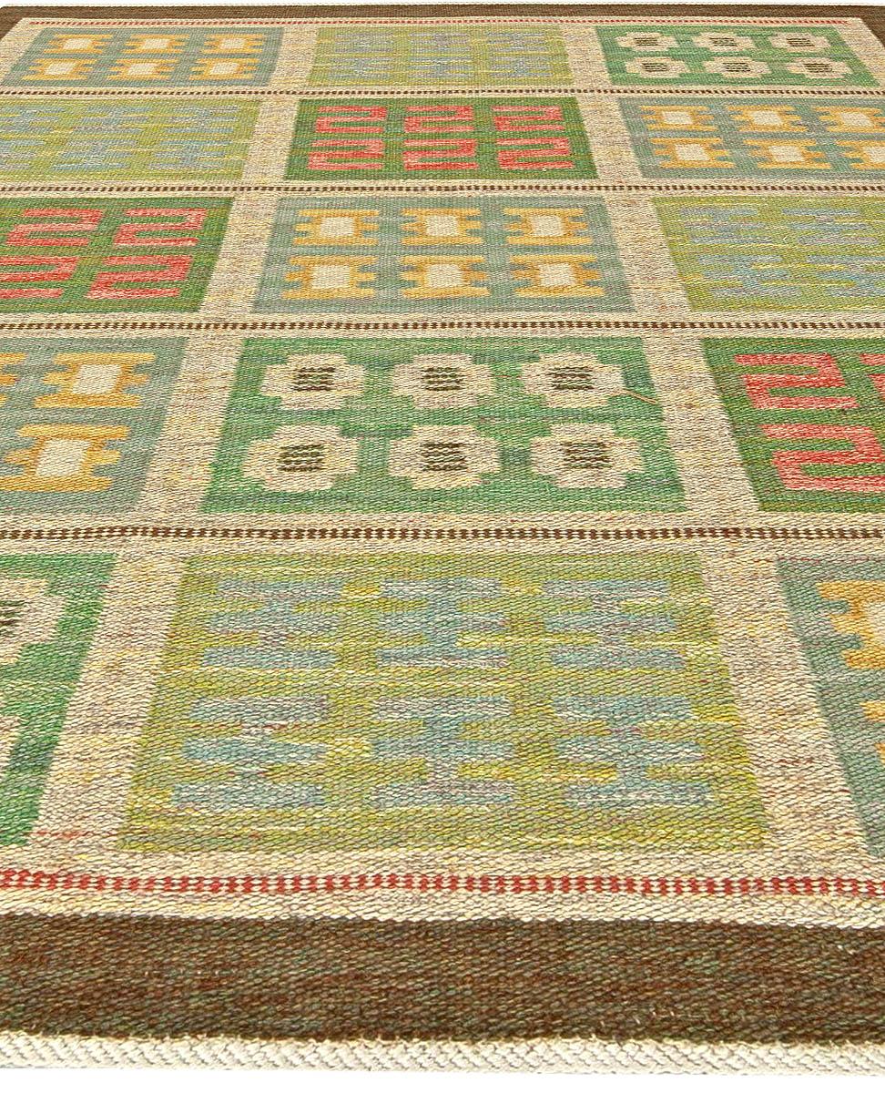 Swedish Green, Blue and Yellow Flat-Weave Wool Rug by Svensk Hemslöjd BB5820