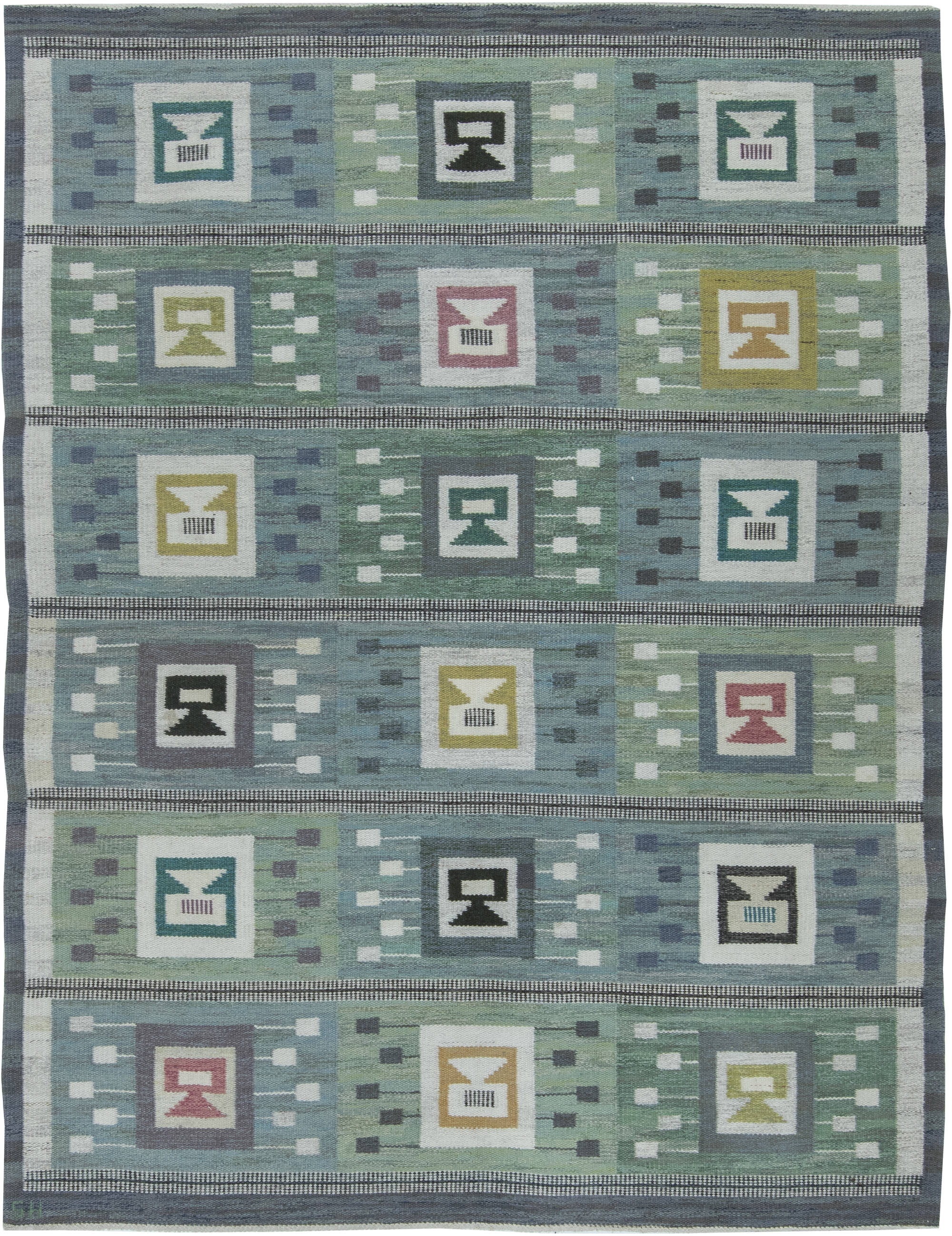 Swedish Flat Weave Rug Signed By Svensk Hemslojd Bb6349