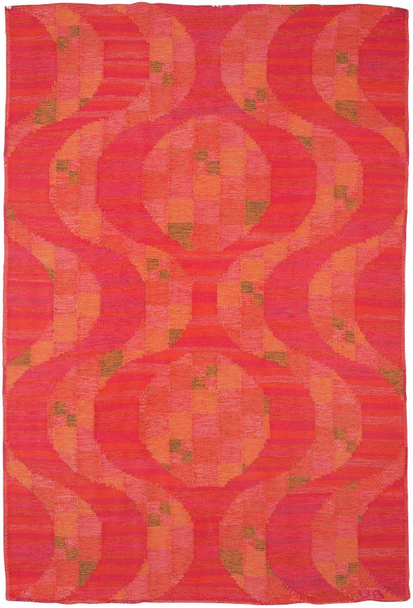 Vintage Swedish Flat Weave Rug Signed VB BB5394