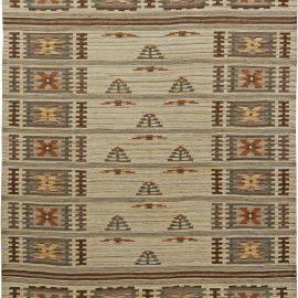 Hand-woven Mid-Century Swedish Rug with Stylized Garden Design BB6061