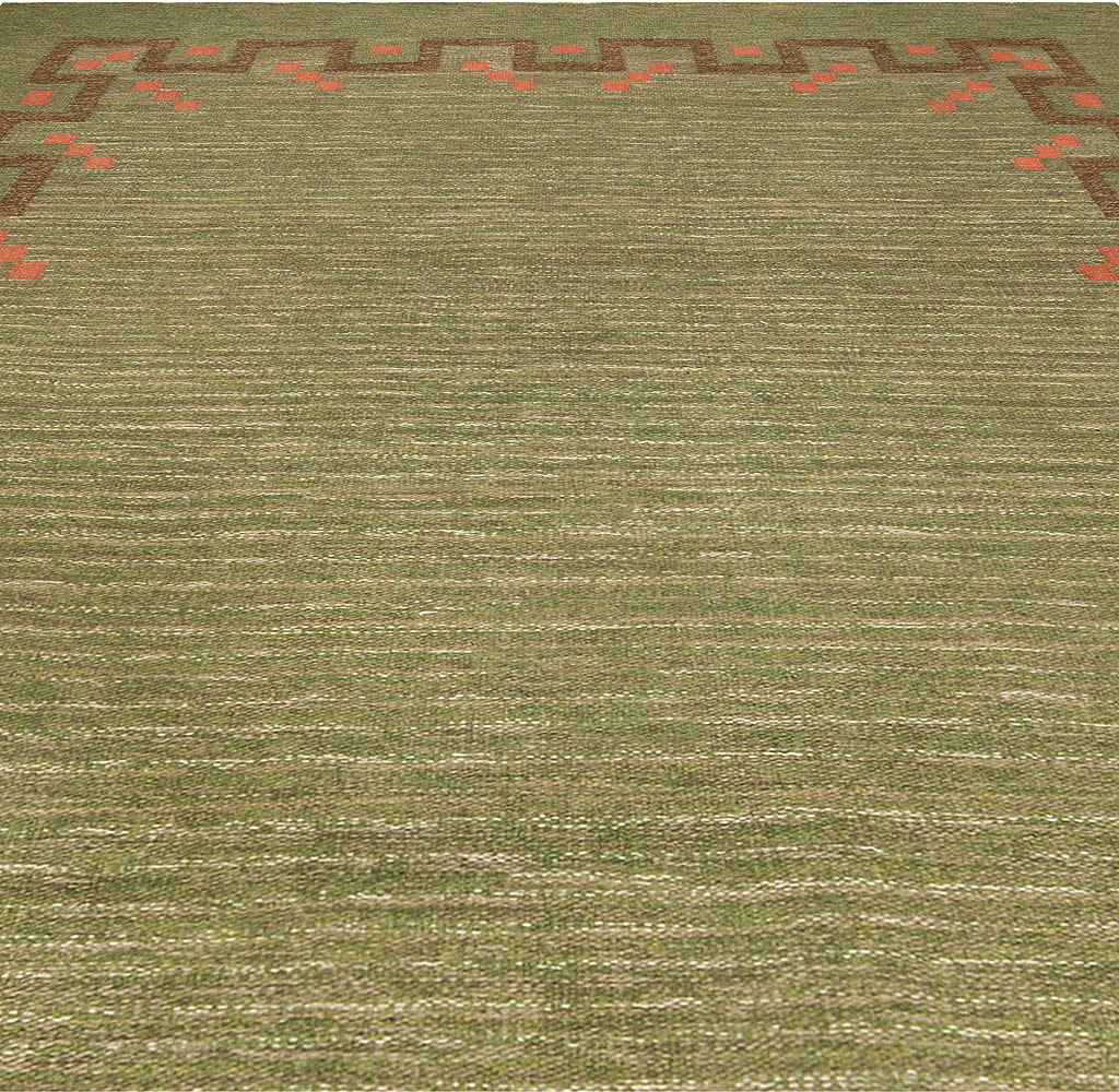 Swedish Green and Coral Red Handmade Wool Rug by Ellen Stahlbrand BB4943