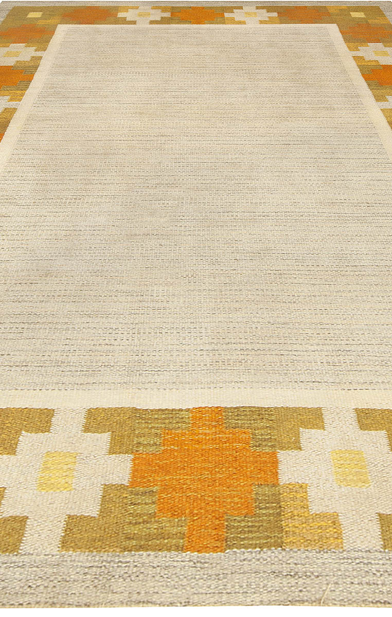 Vintage Swedish Geometric Yellow and Gray Handwoven Wool Rug BB4939