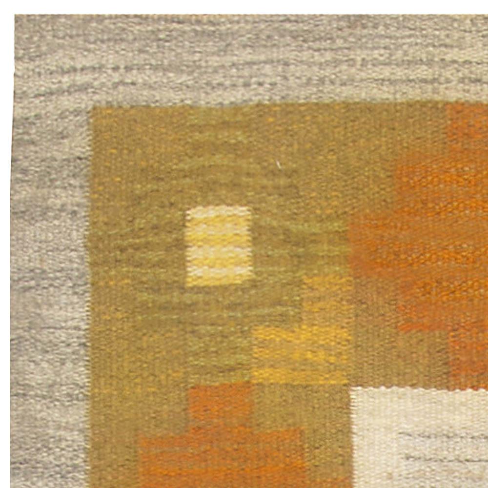 Vintage Swedish Geometric Yellow and Gray Handwoven Wool Rug BB4939