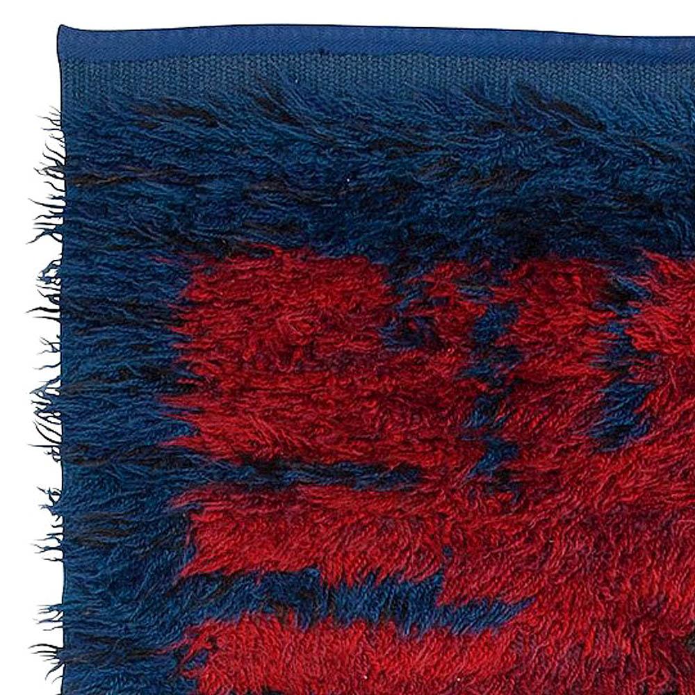 "Midcentury Swedish Blue and Red Pile Rya Rug Signed ""KH GR"" BB5378"